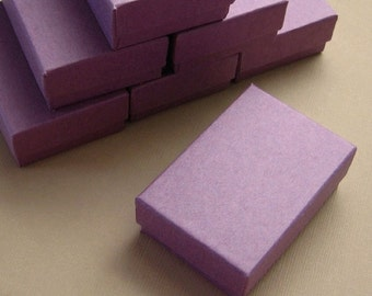 10 High Quality Matte Purple Cotton Filled Jewelry Boxes 2 1/2 x 1 3/4 x 15/16 inches - Small