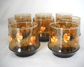Retro Juice Or Water Glasses By Libbey Set Of 8/Smoke Buttefly Water Glasses