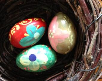 Three Small Wooden Hand Painted Eggs // Eastern European Folk Art / Easter Eggs / Easter Decoration