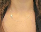 Sterling Silver Crystal Sideways Off Center Hamsa Hand Necklace, Dainty necklace, Fashion Jewelry Trendy Jewelry, Evil Eye Necklace
