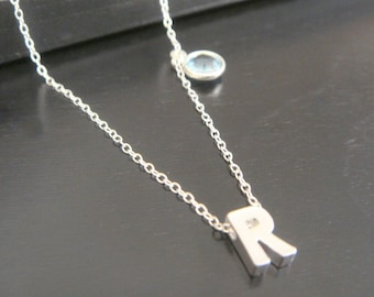Double-Sided Sterling Silver Tiny Single Letter Initial and birtstone Necklace Bridal Bridesmaids Birthday Christmas Initial Letter Necklace