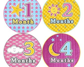 SALE Monthly Baby Stickers Baby Girl Bodysuit Sticker Baby Month Milestone Sticker Baby Shower Gift, Pink Yellow Moon Star Sunshine (055G)
