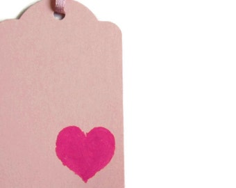 Pink with Handpainted Heart Gift Tag Set of 5