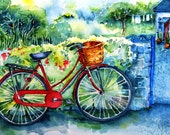 My Red Bicycle -print of  watercolor painting  6 x 8 inches  with  ivory mat