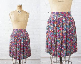 Vintage Floral High Waisted Mini Skirt - Upcycled