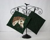 Potholders - Horses - cotton -green