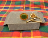 Vintage Walter E Hayward Tie Tack with Chain 1950s Jade and Gold Filled Metal Signed