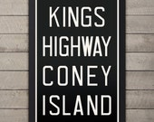 KINGS HWY Coney Island New York City Subway Sign. Bus Scroll. 12 x 18 Rollsign Print