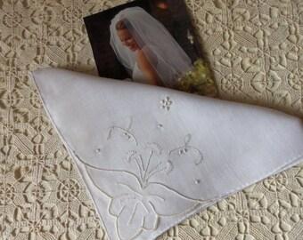 Vintage Wedding Handkerchief, Handmade in Maderia, Whitework, Raised Satin Stitch, Organza Applique, Collectible, Something Old:  BBD-803