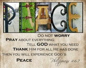 PEACE Alphabet Photography Letter Art with scripture or without (various sizes)