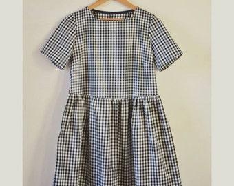 Organic Cotton Gingham short sleeve smock dress