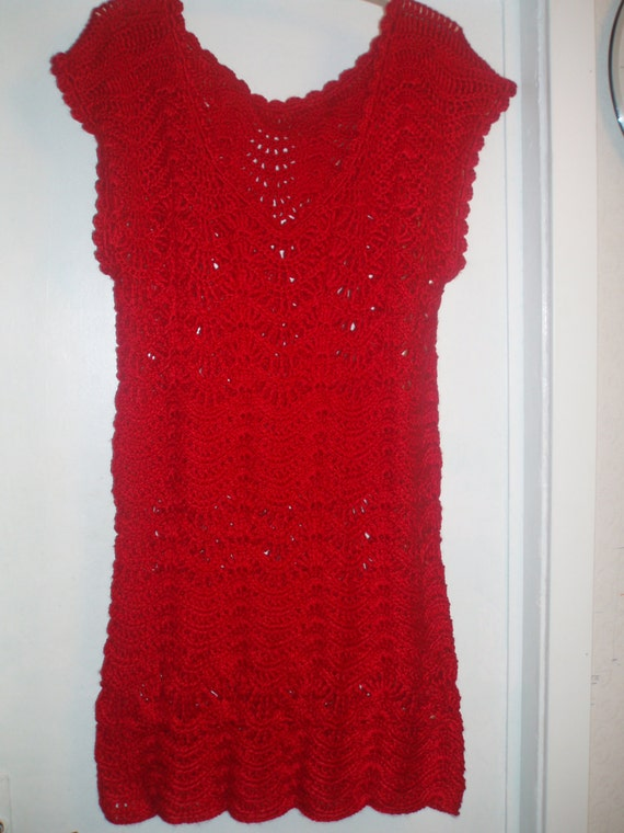 SALE Crochet christmas hot red womens girls  Day  party tunic dress Free shipping!