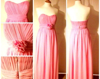 Pink pastel colour chiffon and satin bridesmaid dress. All sizes and colours available