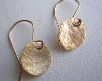 Hand Forged Brass Disk Earrings on Gold Plated Earwires