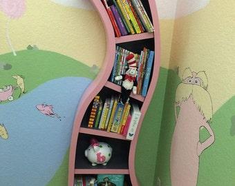 Handmade, 6ft Curved Bookshelf, Pink and dark gray