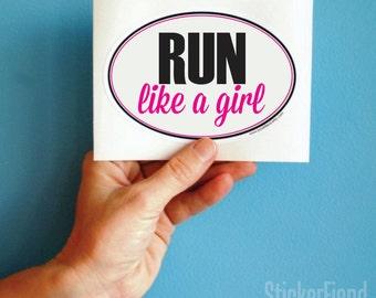 run like a girl vinyl bumper sticker