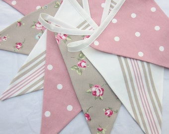 Taupe & Pink Bunting, cottage chic Bunting, Baby Shower, Flag Pennant Banner, Wedding Bunting, Baby Bunting, Fabric Garland, Various Lengths