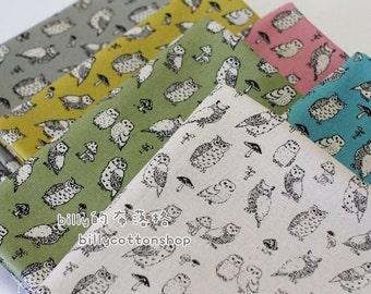 K873_55 - owl fabrics - ( 6 color to choose) in Half Yard