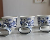 Vintage Set 3 Oriental Onion Ironstone Cups and  3 Fish Napkin Holders Blue/White 6pcs