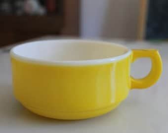 Vintage Yellow and White Glass Soup / Chili Bowl with handle