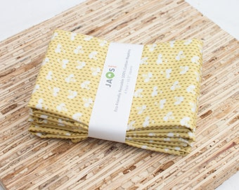 Large Cloth Napkins - Set of 4 - (N1697) - Dots Sprouts Modern Reusable Fabric Napkins