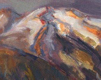 East Cascades Mountains, Chipmunk Pass, oil painting depicts low warm sunlight