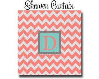 "Custom Personalized Monogram Shower Curtain - You Choose Size , 70"" x 70"", 70"" x 90"", or ANY size You Choose Colors - Chevron"