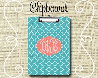 Personalized Clipboard, Monogram Clipboard, Teacher Clipboard, Nurse Clipboard 6x9 or 9x12.5 Quatrefoil , Coral Pink or ANY color