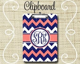 Personalized Clipboard, Monogram Clipboard, Teacher Clipboard, Nurse Clipboard 6x9 or 9x12.5 Chevron Navy Coral or ANY color(s)
