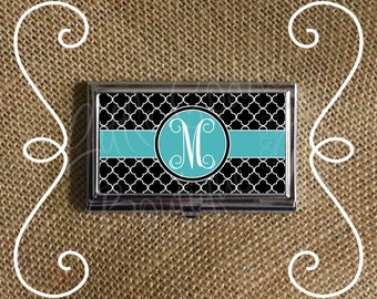 Custom Personalized Business Card Case Business Card Holder Quatrefoil