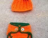 Crocheted pumpkin hat - crocheted diaper cover - crocheted pumpkin outfit - crocheted pumpkin set - newborn crocheted pumpkin set - pumpkins