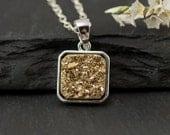 Gold Druzy Necklace - Titanium Necklace - Square Druzy Necklace - Sterling Silver Pendant