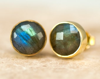 Labradorite Stud Earrings - Gemstone Studs - Round Studs - Gold Stud Earrings - Post Earrings