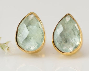 Aquamarine Stud Earrings - March Birthstone Studs - Gemstone Studs - Tear Drop Studs - Gold Stud Earrings - Post Earrings