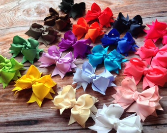 Hair Bows- Set of 20- Ribbon Bow- Hair Clip- 3.5 Inch Bows You Choose the Colors