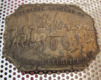 """Vintage 60's """"BRASS BELT BUCKLE"""" American Express Co. Well Butterfield and Co"""