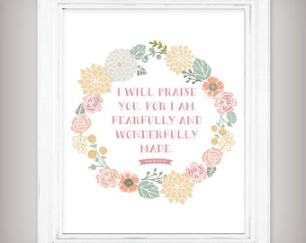 Wonderfully Made - Bible Scripture Verse Art Print - Psalm 139:14 - Floral Wreath - INSTANT Digital Download!