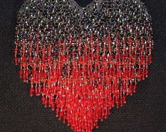 Stunning Red & Black Crystal Beaded Heart Wall Art