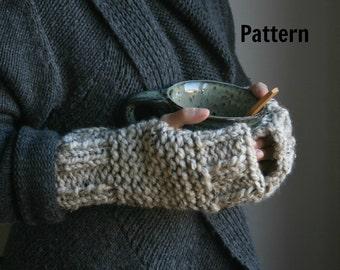 Knitting PATTERN Chunky Wrist Warmers/The Forest Walk Wrist-Warmers