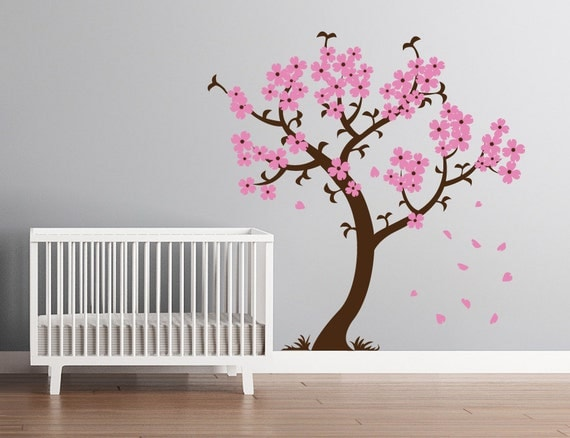 Blossom Tree Extra Large Wall Decal Japanese Cherry Blossom: Modern Nursery Cherry Blossom Tree Wall Decal By CherryWalls