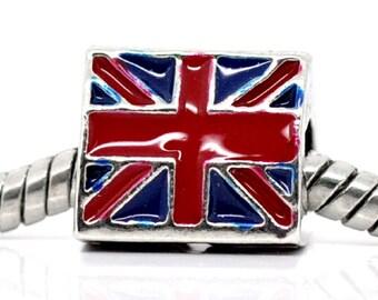 UK FLAG Rectangle European Bead Charm England Britain Union Jack World Cup Championship Olympics Bracelet Necklace