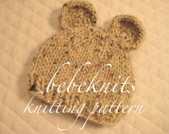 Bebeknits Little Bear Baby Hat Knitting Pattern