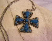 On Sale Faux Turquoise Maltese Cross Statement Necklace
