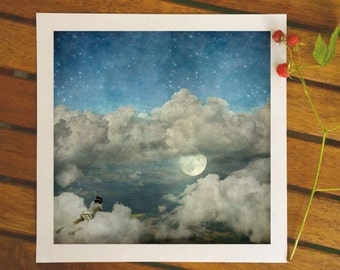 Photographer gift, camera man, surreal art, whimsical photo art, fairy art print, photographer artist, heaven, moon art