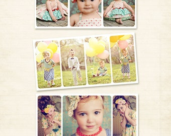 Set 3 Photography Storyboard Templates 10x20 Photo Collage PSD Photoshop Template for Photographers - S131