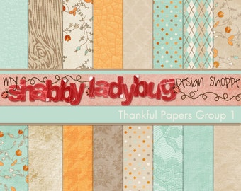"Thankful Digital Textured Paper Collection Group 1: 16 Individual 12x12"" 300 dpi digital scrapbook papers"