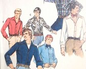 Vintage BUTTERICK 4575 Pattern Men's Long Sleeve Fitted Shirt Size 44