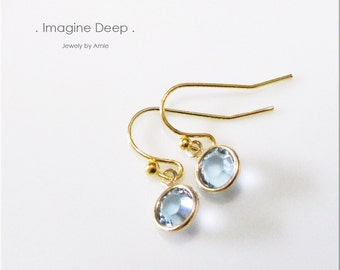 50% off SPECIAL - Dangle Crystal Earrings - Gold Plated Soft Baby Sky Blue Swarovski Crystal Earrings