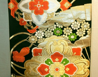 Black and gold flowers - a vintage silk Japanese obi for wear or display