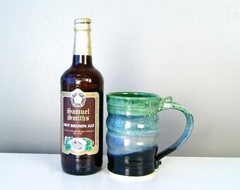 18 oz Handmade MUG, Beer Stein, Tankard, Tall Mug, Handmade Pottery, Black, Blue, and Green